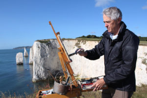 September 2014 - Jeremy paints Old Harry, the Pinnacle and the Haystack